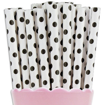 Black Tiny Dot Paper Straws