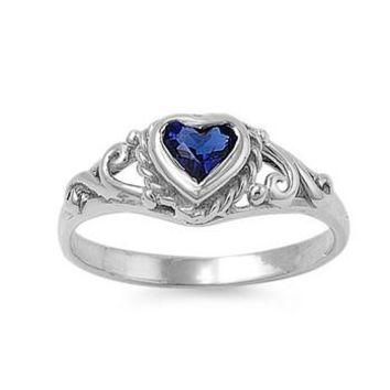 Sterling Silver Filigree Heart CZ Sapphire 7MM CZ Petite Rings