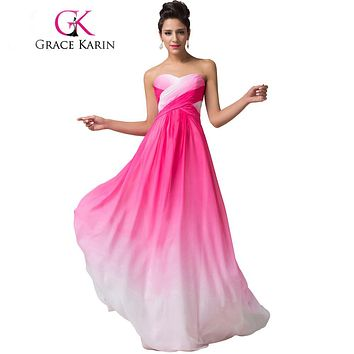 Grace Karin Summer Ombre Chiffon Bridesmaids Dress 2017 Sweetheart Strapless Cheap Bridesmaid Dress Under 50 Wedding Party Gown
