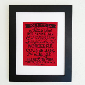 Isaiah 9 6 For Unto Us A Child Is Born 11x14 Framed Burlap Print