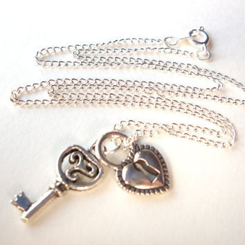 Key to my Heart Necklace silver skeleton key and heart lock charm necklace on silverplated chain
