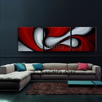 Large Red and White Oil Painting, Abstract Home Decor, Oil Painting, Mothers Day Gift, Modern Art on Canvas, Office Decor by Nandita Arts