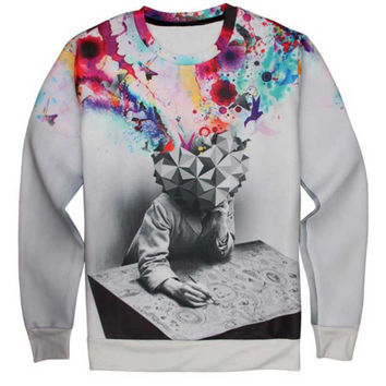 Artistic Head Crew Neck Sweatshirt Men & Women Harajuku Style All Over Print Sweater