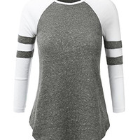 JJ Perfection Women's Heathered Varsity-Striped Baseball Raglan Tee