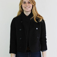 Vintage Black Wool and Cashmere Short Cropped Double Breasted Coat // Size X-Small to Small