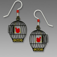 Sienna Sky Earrings - Open Bird Cage with Red Bird on Swing