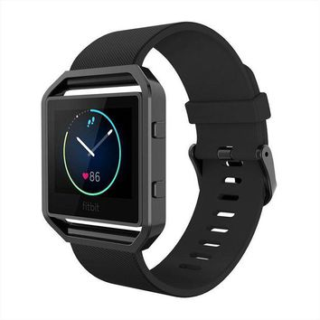 ONETOW Simpeak Fitbit Blaze Bands with Frame, Silicone Replacement Band Strap with Frame Case for Fit bit Blaze Smart Fitness Watch, Small/Large