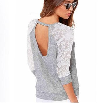 Sudaderas Mujer 2017 Autumn Women Jumpers Lace Crochet Patchwork Backless Hoodies Sweatshirts Long Sleeve Casual Tunic Pullovers