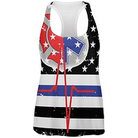 EMS EMT Firefighter Thin Blue Lives Line Flag All Over Womens Work Out Tank Top