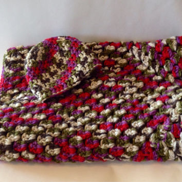 Funky Maroon Baby Blanket and Hat - Stoller, Car Seat, Crochet Blanket - Granny Square