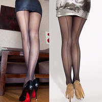 Sexy Women's Ultra Sheer Transparent Line Back Seam Tights Stockings Pantyhose