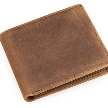 Men's Crazy Horse Leather Khaki Brown Short Bi-Fold Wallet