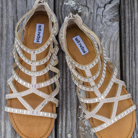 What A Girl Wants Cream Gladiator Sandals