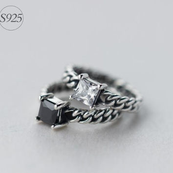 925 Sterling silver retro opening ring,retro silver CZ ring, couple ring,a perfect gift