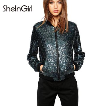 SheInGirl 2017 Autumn New Fashion Casual Bomber Jackets Zipper Pockets Jackets Blingbling Sequins Outwear Slim Streetwear Coats