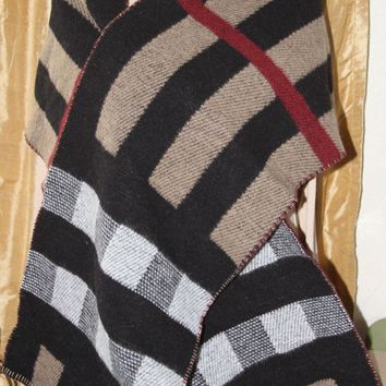 #12 BURBERRY CHECK WOOL & CASHMERE BLANKET SCARF $475 NEW COLLECTION SOLDOUT