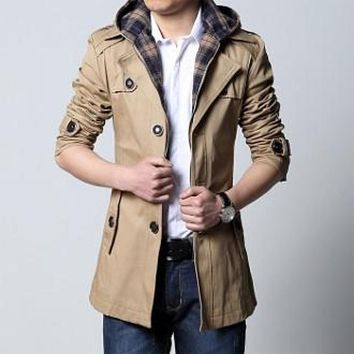 Mens Khaki Removable Hooded Trench Jacket in Medium