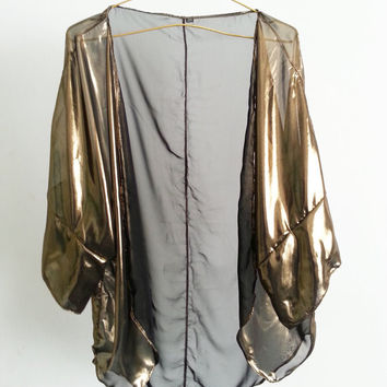 Metallic Gold Swimsuit Cover up Caftan Beach Kimono Chiffon Sheer Handmade Extended Sleeves