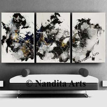 Abstract Black and White wall art Large minimalist art, Modern home decor original painting on canvas by Nandita Albright 72x36in/183x92cm