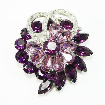 Signed Eisenberg Purple Rhinestones Brooch & Clip Earrings Set Vintage 1950s Demi Parure Purple and Clear Rhinestone Pin Mother of the Bride