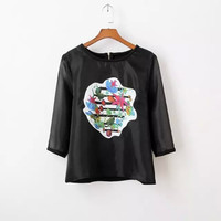 Black Floral Embroidery Sleeve Shirt