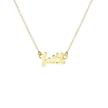 "Kris Nations Necklace- Gold ""Faith"" Script"