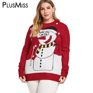 PlusMiss Plus Size Christmas Cartoon Snowman Printed Sweater Women Oversized Knitted Tops Winter Loose Jumper Knit Pullover