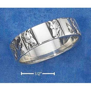 Sterling Silver Ring:  Horse Head Band Ring