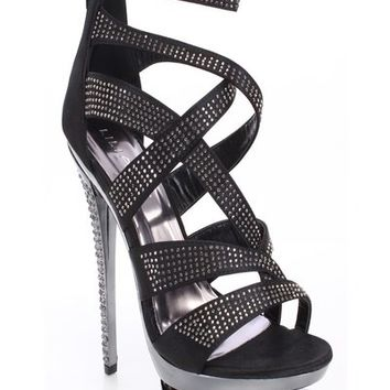 Vigo Fiore Irena 54 Strappy Rhinestone Heels. Black and Silver | Glam Shoetique