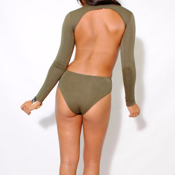 (alw) Open back long sleeves olive bodysuit