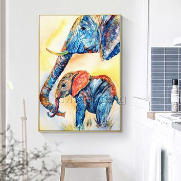 Acrylic Painting on Canvas original art Elephant Modern abstract animal painting extra large wall pictures cuadros abstractos palette knife