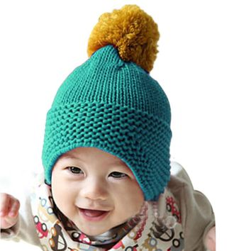 1PC kids soft Toddler Handmade Knitted Baby Hat Lovely Colored Knitting Woolv Balls Cap