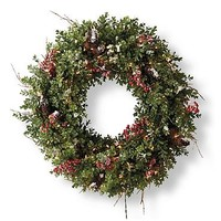 Snowy Boxwood Wreath with Berries