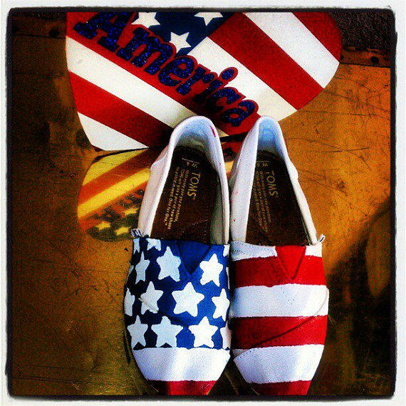 Usa American Flag Custom Toms Shoes By From Conchetts On Etsy