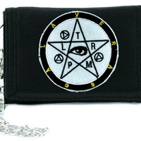 Occult Symbol Pentacle w/ Eye Tri-fold Wallet w/ Chain Gothic Anime Clothing