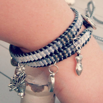 Ombre Gray Buddhist Charm ladder wrap ARM PARTY, leather stacking bracelet, seed bead and leather boho bracelet