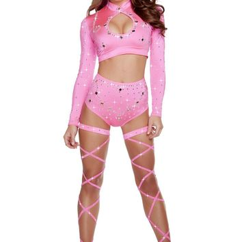 Roma Dancewear USA Hot Pink Long Sleeved Crop Top & High Waisted Shorts Rhinestones