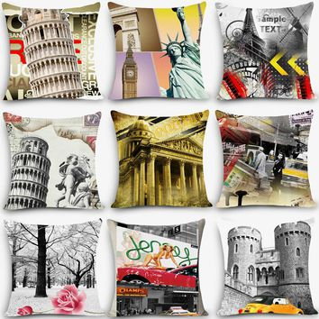 Hot sale home deco pillow euro scenic Print Home Decorative Cushion Throw Pillow Vintage Cotton Linen Square Pillows MYJ-C7