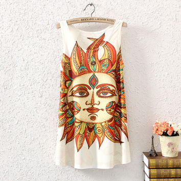 Summer Print Sleeveless Tops Cartoons Women's Fashion T-shirts [4919354308]