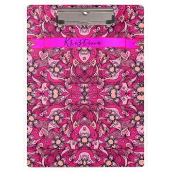 Cute hearts and flowers pattern clipboard