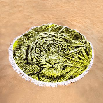 Tiger - King Of The Jungle Round Beach Towel