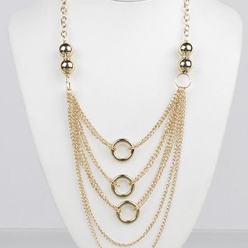 Long Multi Strand Interlocking Chain Necklace