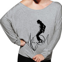 Michael Jackson King of Pop Inspired Women's Signature Off The Shoulder Long Sleeve 8850