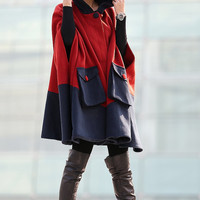 Hooded Winter Cape - Block Color Cashmere Wool Navy Red Warm Cozy Jacket Swing Coat Outerwear for Women CF109