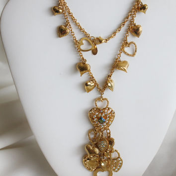 Valentines Sales Vintage Charm Pendant Necklace, Joan Rivers Jewelry, 1990s Jewelry, Heart Charm Brooch