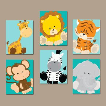 Safari Jungle ANIMALS Wall Art, Jungle Safari Animals Decor, Zoo Animal Pictures, Boy Safari Animal Nursery Decor, CANVAS or Print, Set of 6