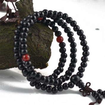 Women Men Handmade Lucky Necklace Black Wood Bead Bracelet Unique Gift Bracelet-Necklace-03