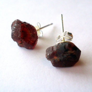 Raw garnet stud earrings - raw stone stud earrings - red gemstone earrings - rough stone studs - silver stud earrings
