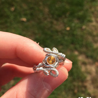 Ring Size 5.5 Citrine Yellow Sapphire Sterling Silver Wire Wrapped
