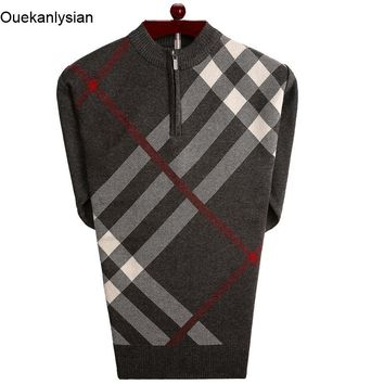 Ouekanlysian Mens Zipper Pull Sweaters Long Sleeve Fitness Casual Plaid Knitting Pattern Sweaters Social Business Pull Sueter